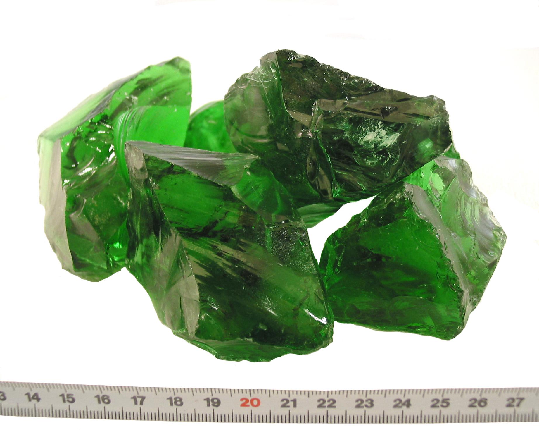 Glas-Brokken Groen 80-120mm